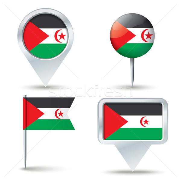 Kaart vlag westerse sahara business weg Stockfoto © ojal