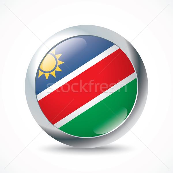 Namibië vlag knop textuur zon groene Stockfoto © ojal