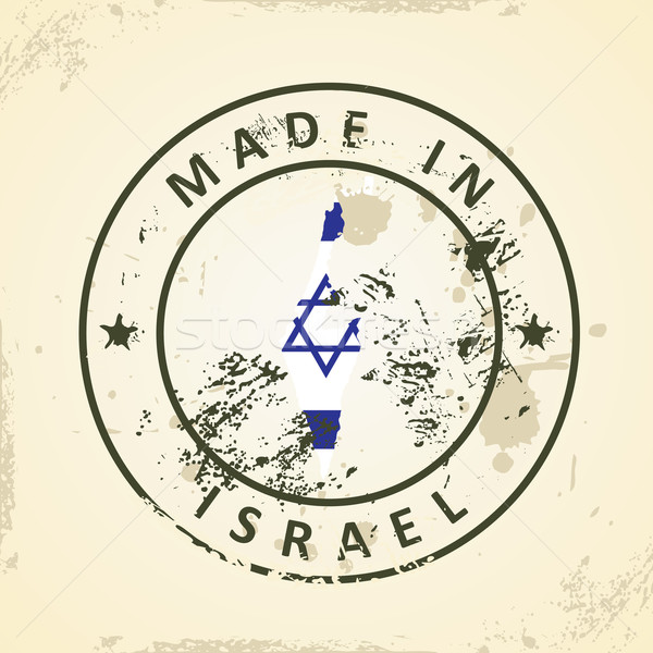 Stamp with map flag of Israel Stock photo © ojal