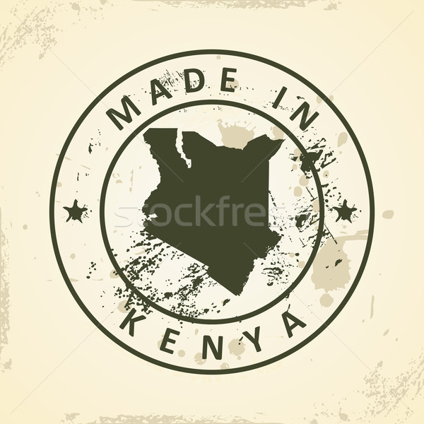 Stamp with map of Kenya Stock photo © ojal