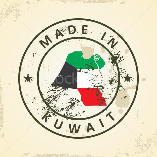 Stock fotó: Bélyeg · térkép · zászló · Kuvait · grunge · világ
