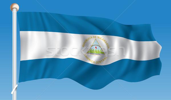 Zászló Nicaragua térkép világ zöld utazás Stock fotó © ojal