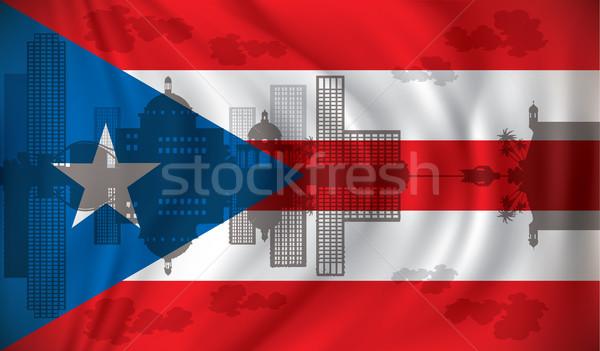 Vlag san juan skyline hemel water huis Stockfoto © ojal