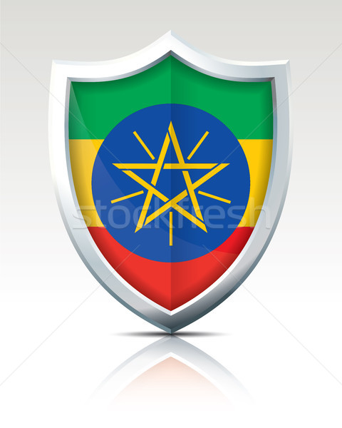 Shield with Flag of Ethiopia Stock photo © ojal