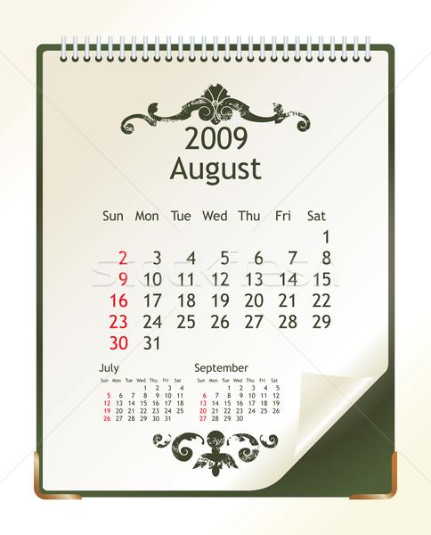 Augusztus 2009 naptár iroda tavasz terv Stock fotó © ojal