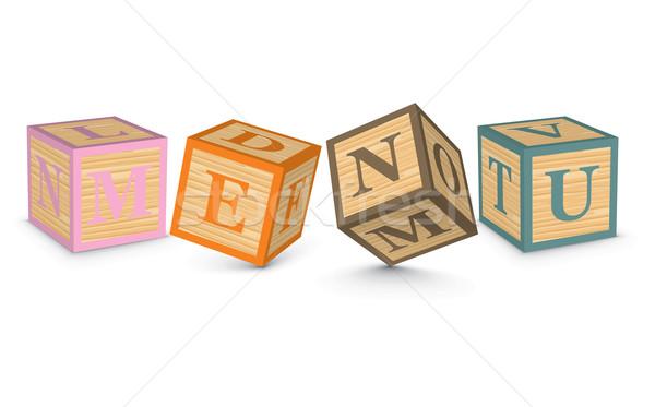 Word MENU written with alphabet blocks Stock photo © ojal
