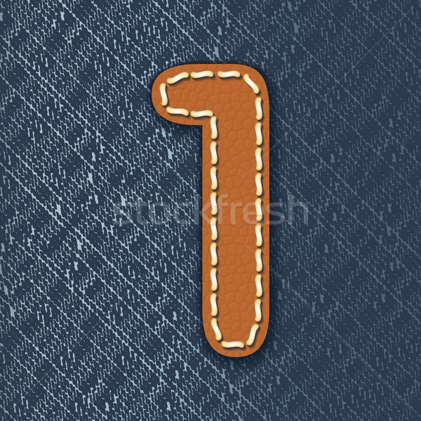 Number 1 made from leather on jeans background Stock photo © ojal