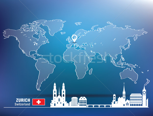 Map pin with Zurich skyline Stock photo © ojal