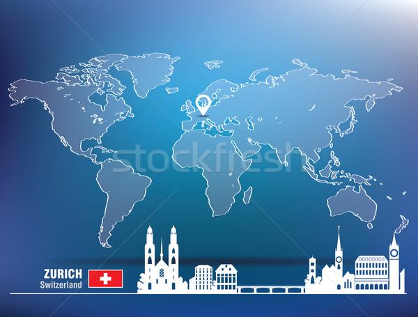 Harita pin Zürih ufuk çizgisi Bina şehir Stok fotoğraf © ojal