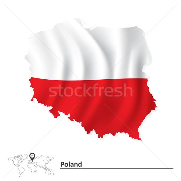 Mapa Polônia bandeira textura abstrato assinar Foto stock © ojal