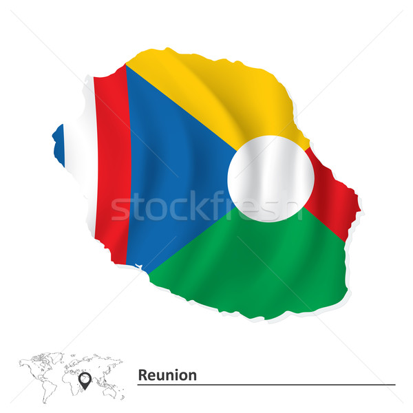 Map of Reunion with flag Stock photo © ojal
