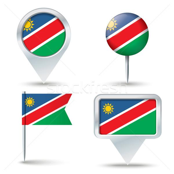 Harita bayrak Namibya iş yol beyaz Stok fotoğraf © ojal