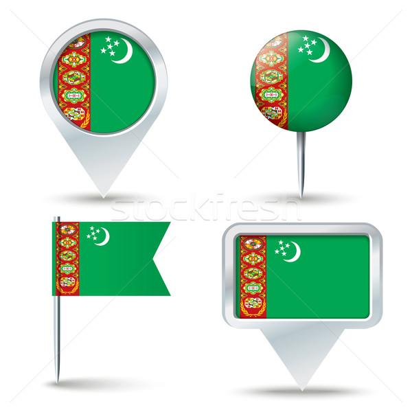 Térkép zászló Türkmenisztán üzlet út fehér Stock fotó © ojal