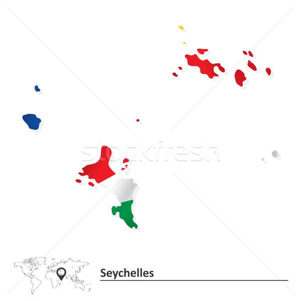 Térkép Seychelle-szigetek zászló textúra óceán kék Stock fotó © ojal