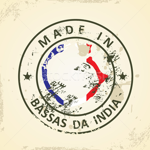 Stamp with map flag of Bassas da India Stock photo © ojal