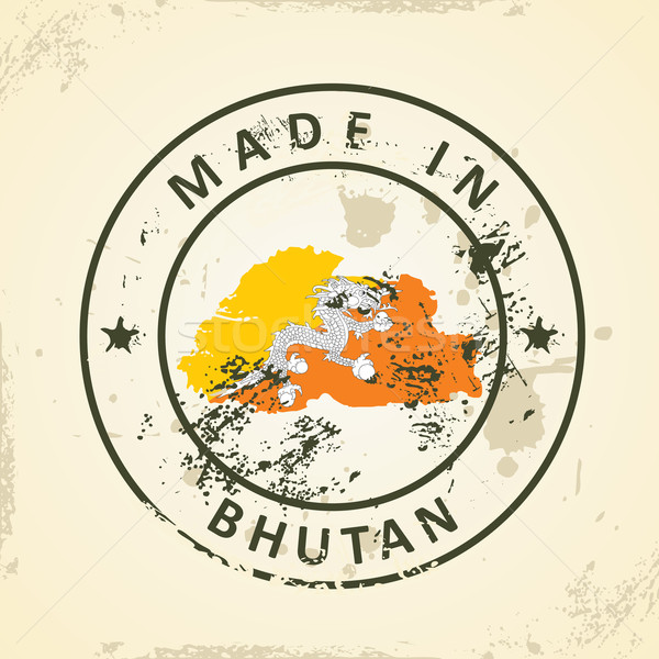 Stempel kaart vlag Bhutan grunge abstract Stockfoto © ojal