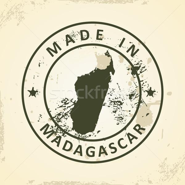 штампа карта Мадагаскар Гранж Мир зеленый Сток-фото © ojal