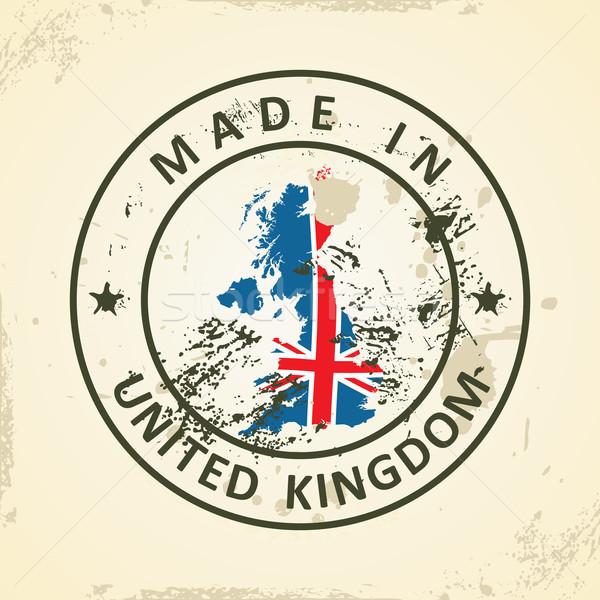 ストックフォト: スタンプ · 地図 · フラグ · イギリス · グランジ · 白