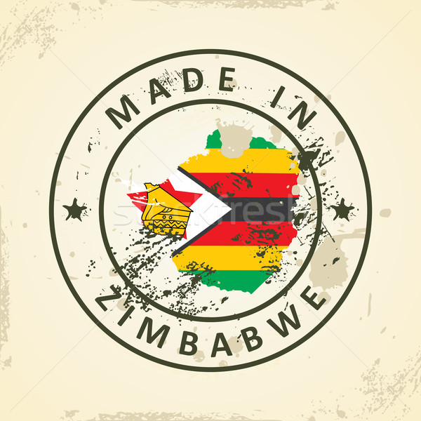 Stamp with map flag of Zimbabwe Stock photo © ojal