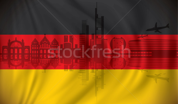 Flag of Germany with Frankfurt skyline Stock photo © ojal