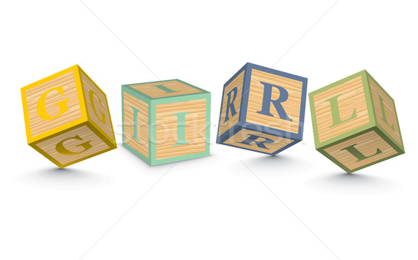 Stock photo: Word GIRL written with alphabet blocks
