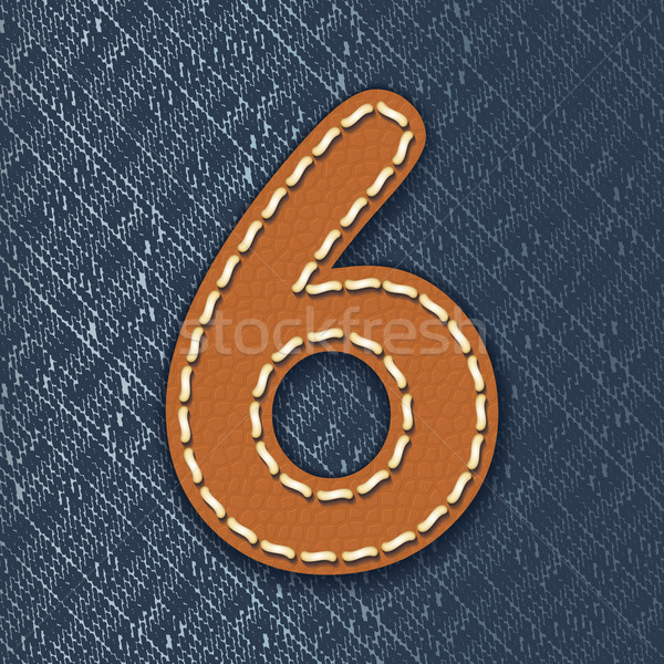 Number 6 made from leather on jeans background Stock photo © ojal