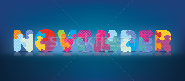 Vector NOVEMBER written with alphabet puzzle Stock photo © ojal