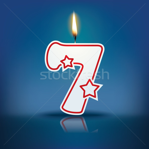 Candle number 7 with flame Stock photo © ojal