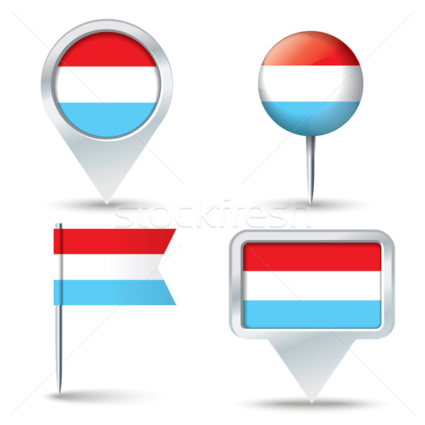 Map pins with flag of Luxembourg Stock photo © ojal