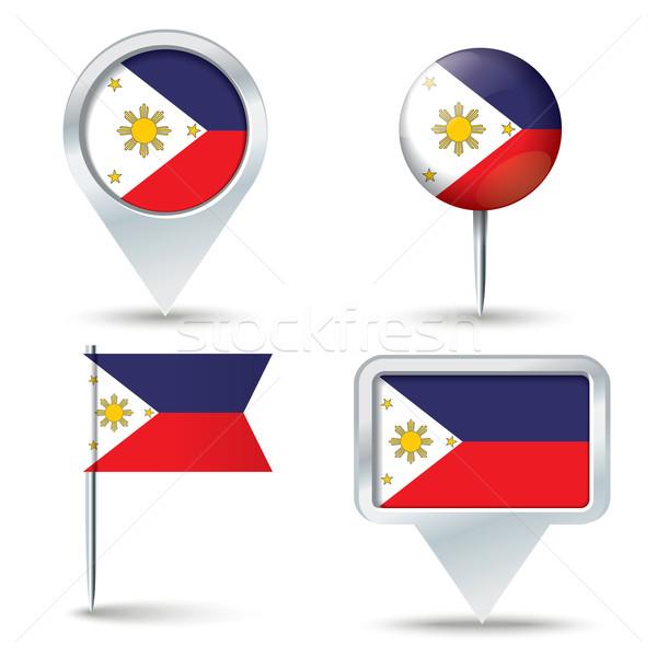 Kaart vlag Filippijnen business weg witte Stockfoto © ojal