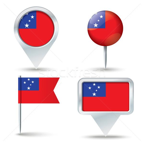 Mapa bandeira Samoa negócio estrada branco Foto stock © ojal