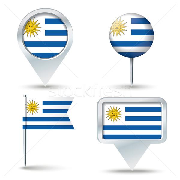 Térkép zászló Uruguay üzlet út fehér Stock fotó © ojal