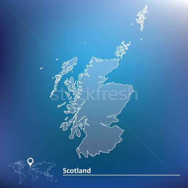 Mapa Escocia fondo azul viaje isla Foto stock © ojal
