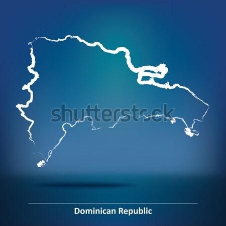 Karalama harita Panama doku mavi siluet Stok fotoğraf © ojal