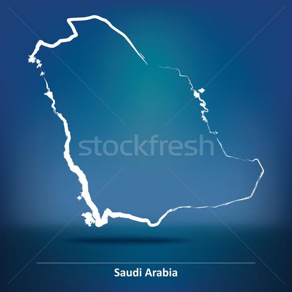 Doodle Map of Saudi Arabia Stock photo © ojal