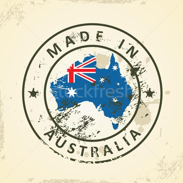 штампа карта флаг Австралия Гранж аннотация Сток-фото © ojal