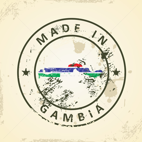 Stock photo: Stamp with map flag of Gambia