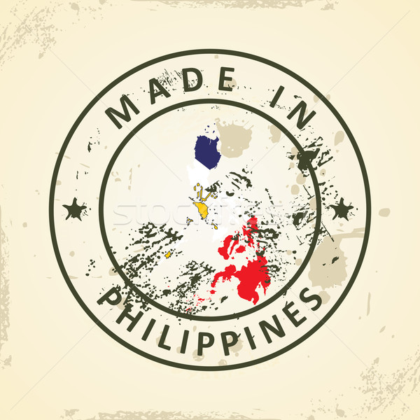 Stok fotoğraf: Damga · harita · bayrak · Filipinler · grunge · doku