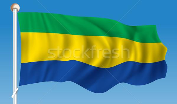 Bandiera Gabon texture abstract silhouette bianco Foto d'archivio © ojal