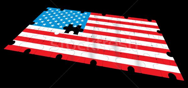 Drapeau américain vecteur école étoiles bleu puzzle Photo stock © ojal