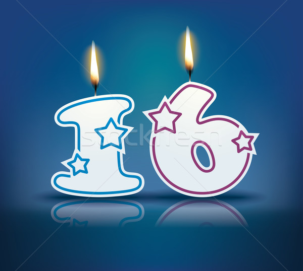 Birthday candle number 16 Stock photo © ojal