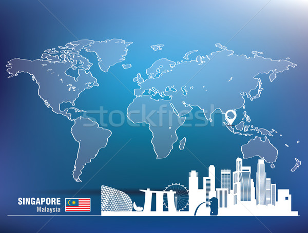 Map pin with Singapore skyline Stock photo © ojal