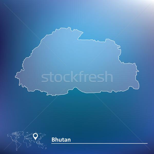Foto stock: Mapa · Butão · água · abstrato · mundo · terra