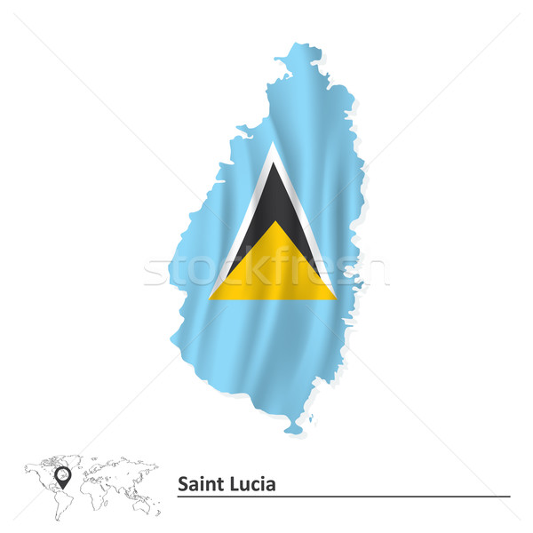 Map of Saint Lucia with flag Stock photo © ojal