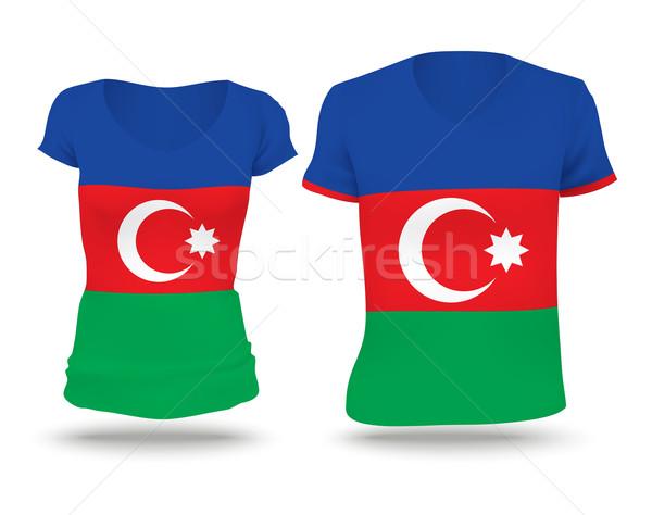 Banderą shirt projektu Azerbejdżan kobieta człowiek Zdjęcia stock © ojal