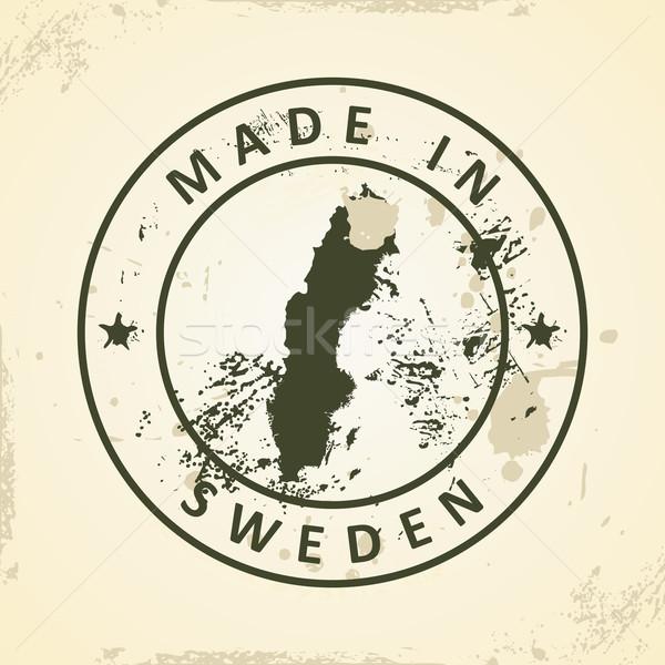 Bélyeg térkép Svédország grunge világ utazás Stock fotó © ojal
