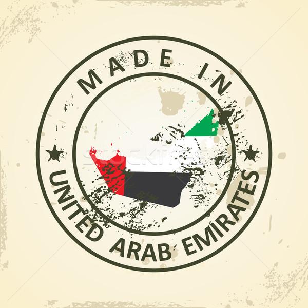 штампа карта флаг Объединенные Арабские Эмираты Гранж Мир Сток-фото © ojal