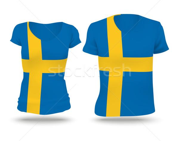 Bandiera shirt design Svezia donna uomo Foto d'archivio © ojal