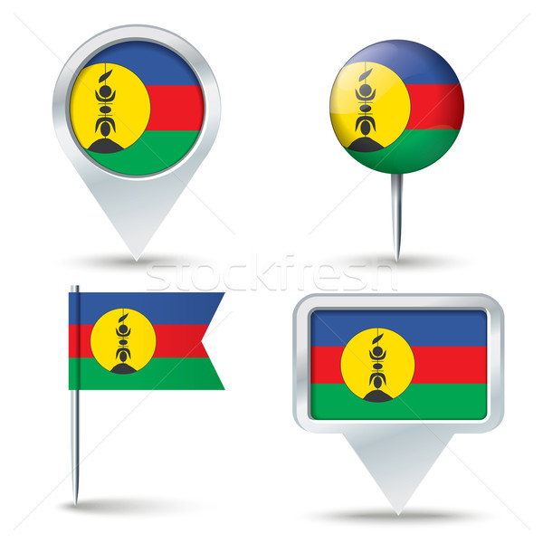 Map pins with flag of New Caledonia Stock photo © ojal