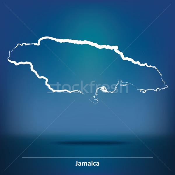 Karalama harita Jamaika doku arka plan imzalamak Stok fotoğraf © ojal